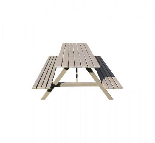 Стол с двумя лавками Карелия МС-13 (кварц)