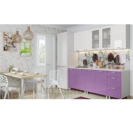 Кухонный гарнитур Модерн Белый-Фиолетовый металлик